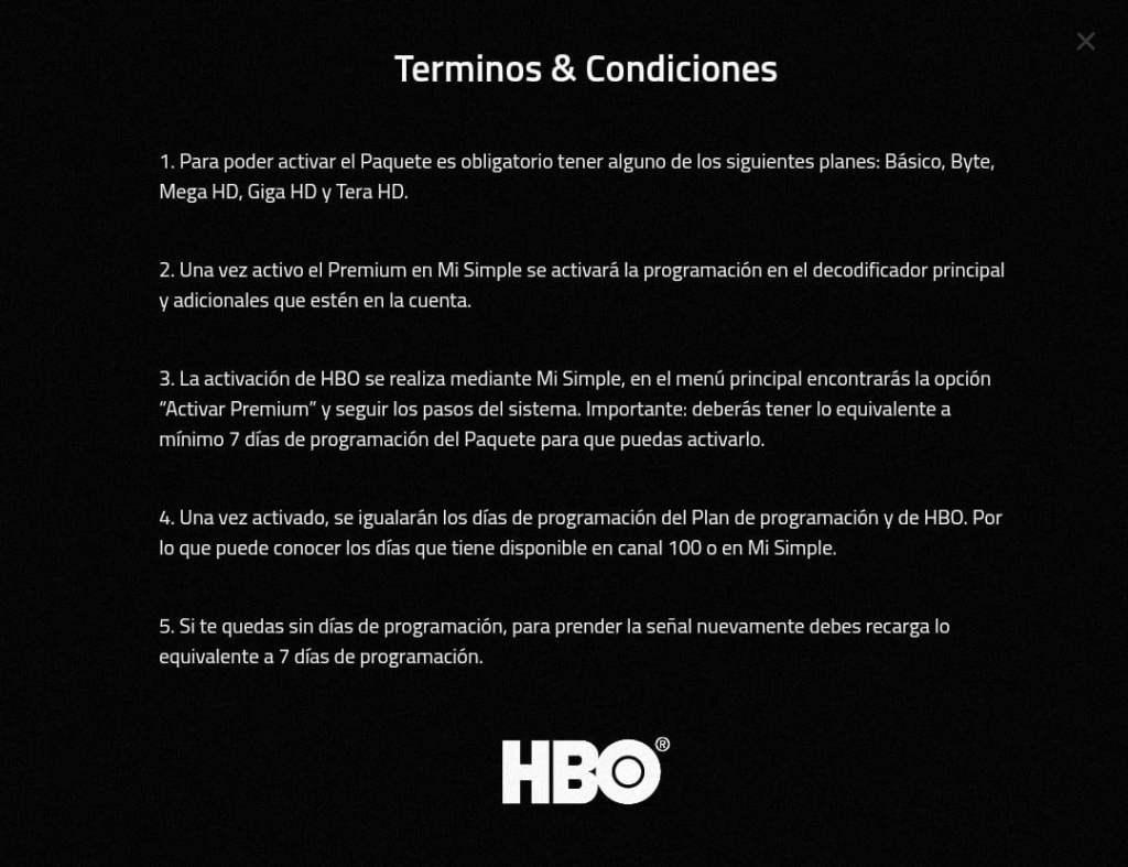 Paquete premium HBO simple TV