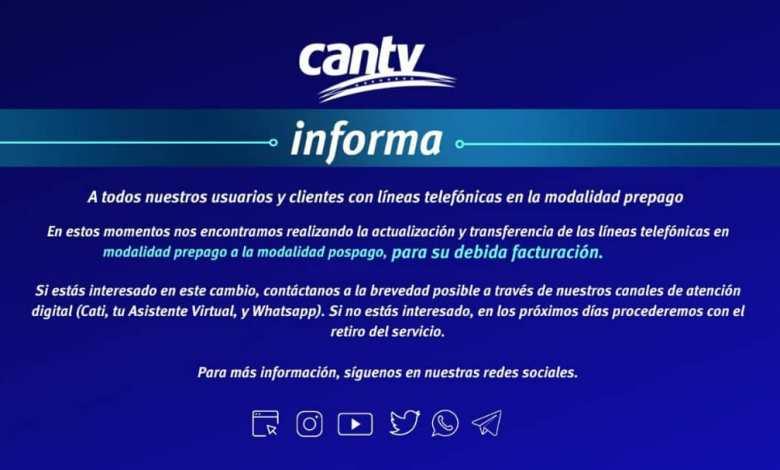 Comunicado: Cantv informa que eliminará sus servicios prepagos