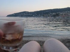 My knees at sunset in Villefranche - actually a very familiar sight these days.
