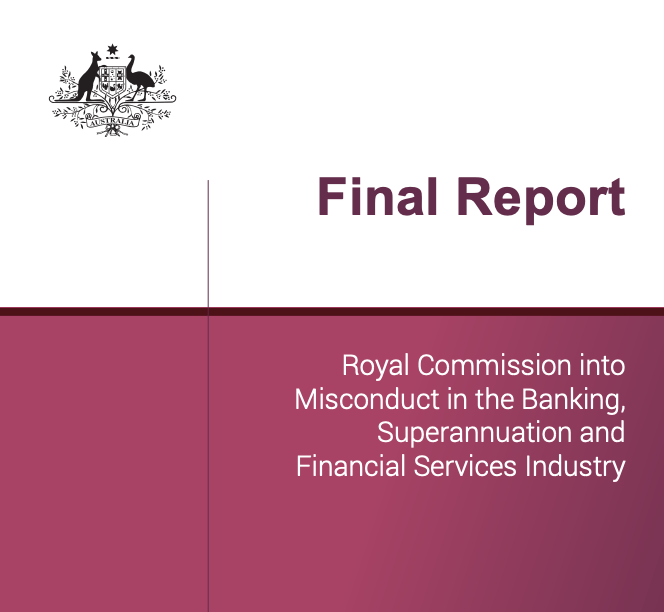 Cover of the final report of the Royal Commission into Misconduct in the Banking, Superannuation and Financial Services Industry