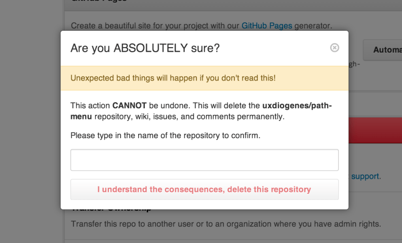 The GitHub delete confirmation dialog