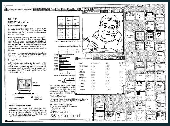 Xerox Star 6085 desktop icons (c. 1985)