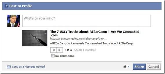 facebook share popup