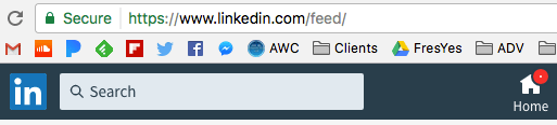 The newsfeed URL at Linkedin
