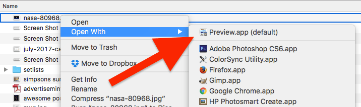 How to open an image up in Preview on a Mac