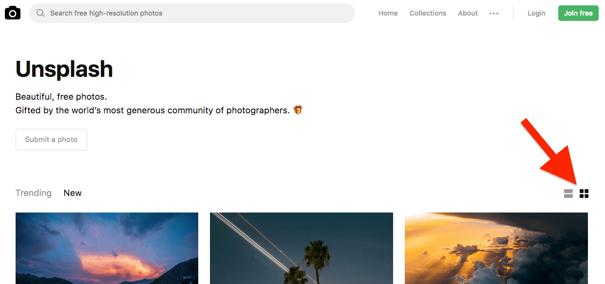 unsplash grid view
