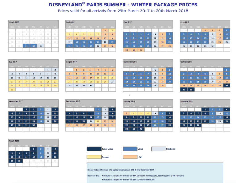 Disneyland Paris Price Grid 2017