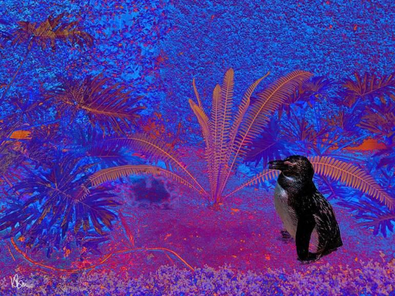 penguin amid multicolor plants