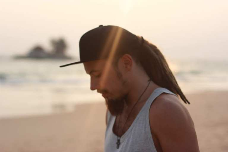 sad man at beach