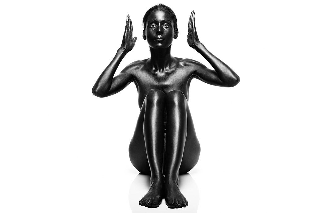 woman painted black