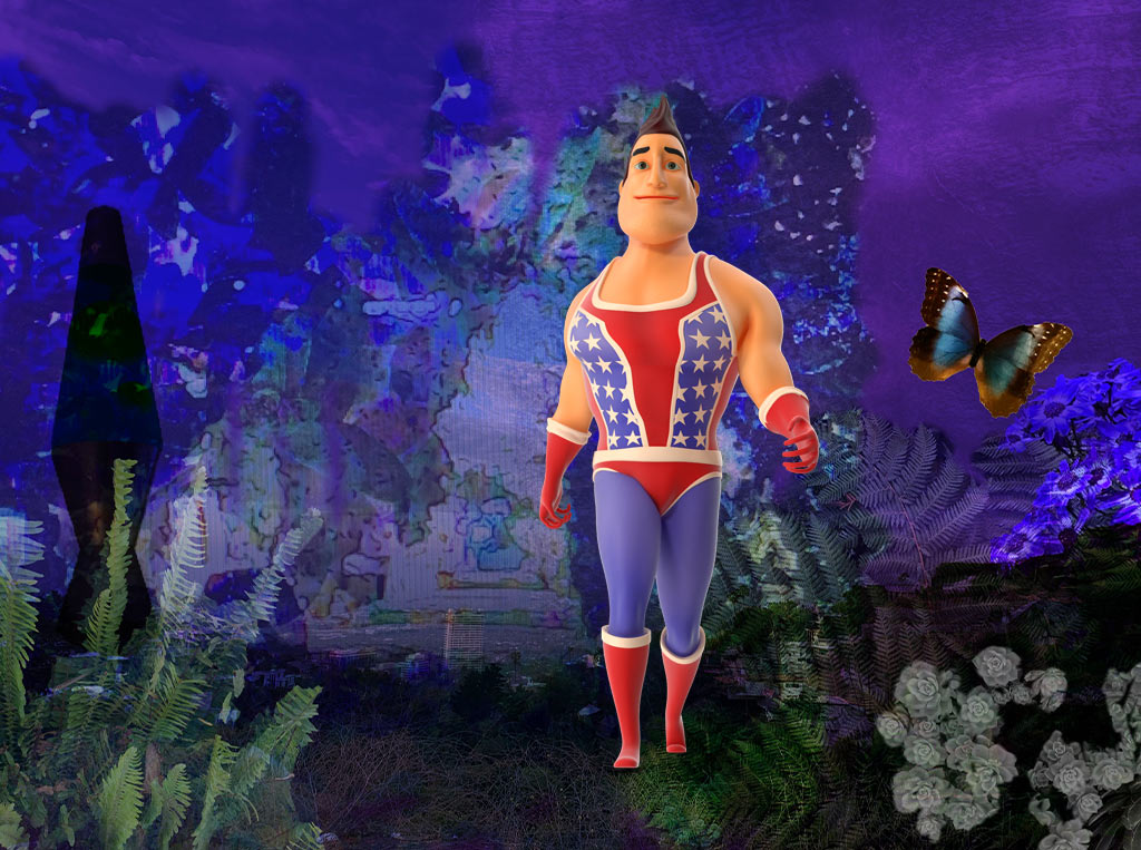 superhero on purple background