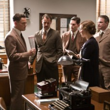 "(Left) LEONARDO DiCAPRIO as J. Edgar Hoover and NAOMI WATTS (fourth from left) as Helen Gandy in Warner Bros. Pictures' drama ""€œJ. EDGAR,""€ a Warner Bros. Pictures release."
