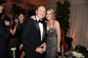 Kevin Spacey and Robin Wright seen at Netflix 2016 Emmy Party at NeueHouse on Sunday, Sept. 18, 2016, in Los Angeles.