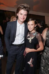 Joe Keery and Millie Bobby Brown seen at Netflix 2016 Emmy Party at NeueHouse on Sunday, Sept. 18, 2016, in Los Angeles.