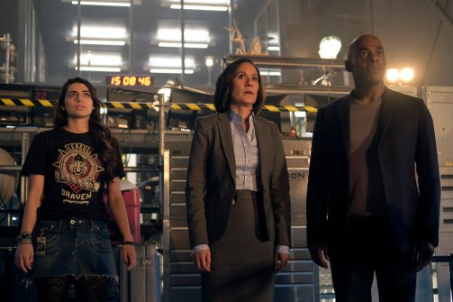 "TIMELESS -- ""Pilot"" -- Pictured: (l-r) Claudia Doumit as Jiya, Sakina Jaffrey as Agent Christopher, Paterson Joseph as Connor Mason"
