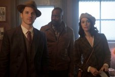 "TIMELESS -- ""Pilot"" -- Pictured: (l-r) Matt Lanter as Wyatt Logan, Malcolm Barrett as Rufus Carlin, Abigail Spencer as Lucy Preston"