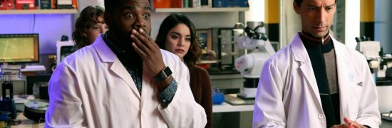 """POWERLESS -- """"Wayne Dream Team"""" Episode 103 -- Pictured: (l-r) Jennie Pierson as Wendy, ROn Funches as Ron, Vanessa Hudgens as Emily,Danny Pudi as Teddy"""
