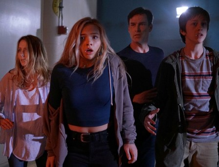 THE GIFTED: L-R: Amy Acker, Natalie Alyn Lind, Stephen Moyer and Percy Hynes White