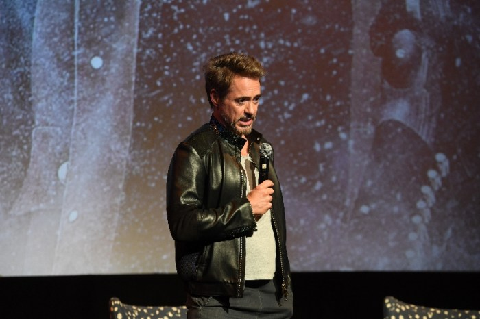 "Actor Robert Downey Jr. speaks onstage at ""Wind River"" special screening at SCADShow on November 29, 2017 in Atlanta, Georgia"