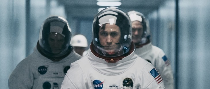 "First Man (L to R) LUKAS HAAS as Mike Collins, RYAN GOSLING as Neil Armstrong and COREY STOLL as Buzz Aldrin in ""First Man,"" directed by Oscar®-winning filmmaker Damien Chazelle"