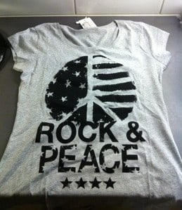T-shirt med tryck, Rock & Peace