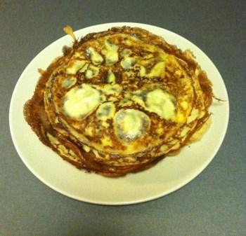 En tallrik pannkakor som jag gjorde med min smetfördelare