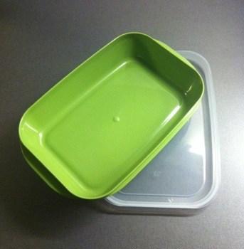 Grön matlåda i plast från Ica, mat på jobbet