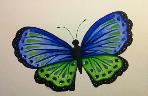 Fjäril i akvarell, blå och grön