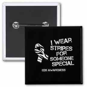 EDS pin, I wear stripes for someone special. EDS awareness, Ehlers-Danlos syndrom. Vill du köpa en EDS-pin så förmedlar jag det! Fick bra bemötande från Posten.