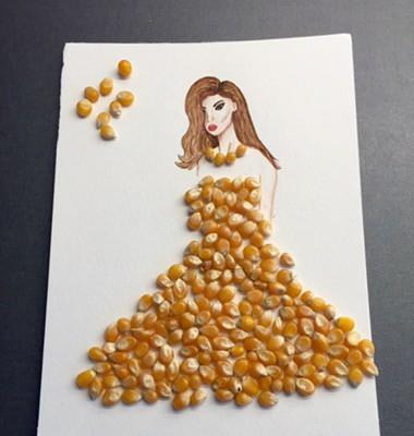 Akvarell, kvinna i klänning av popcorn