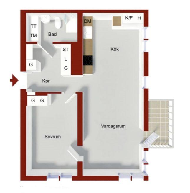 Ritning över min lägenhet