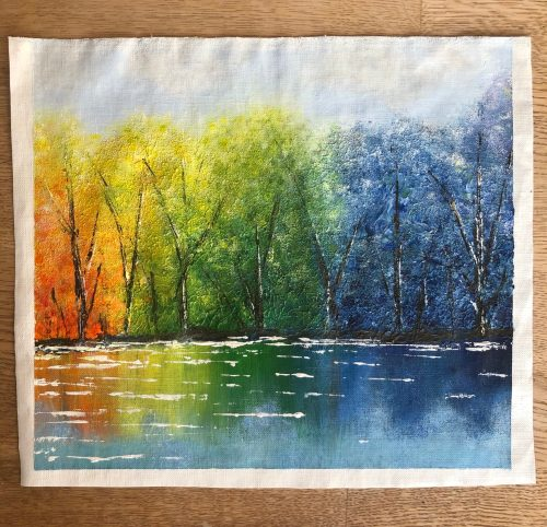 Målning med träd, akrylfärg