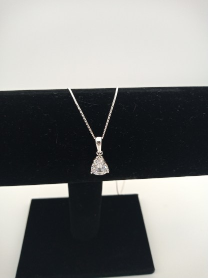 925 silver pear shaped cz pendant on jewellery stand