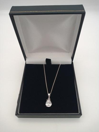 925 silver pear shaped cz pendant in eco friendly jewellery case