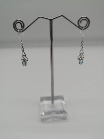 925 silver blue topaz celtic knot droppers on stand