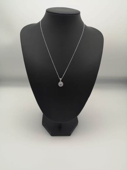 925 silver rhodium plated cz pendant on jewellery stand