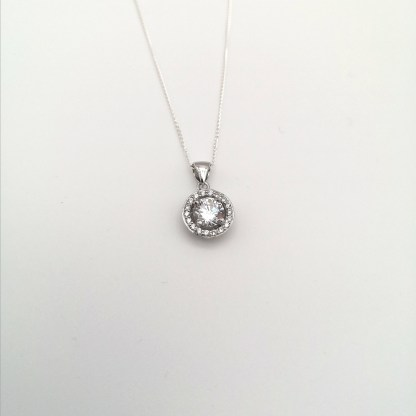 925 silver rhodium plated cz pendant
