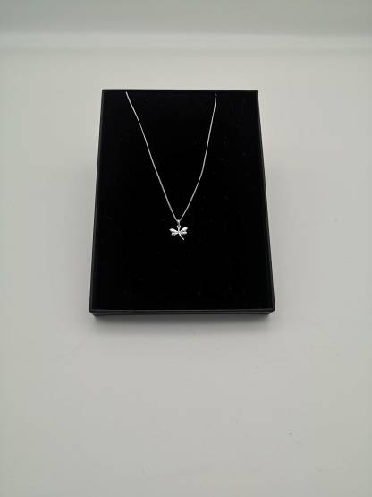 925 silver dragonfly pendant in an eco friendly jewellery box