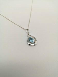 sterling silver and white topaz teardrop pendant