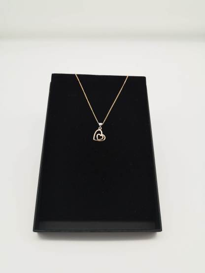 rose gold plated sterling silver double heart pendant