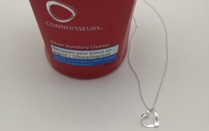 connoisseurs silver jewellery cleaner and silver heart pendant