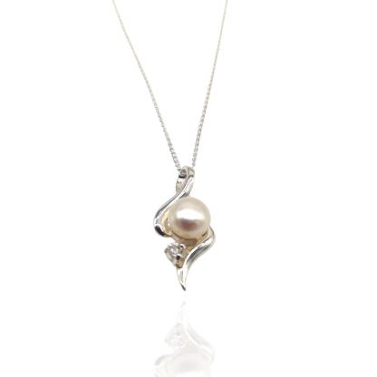 silver pearl and cz pendant