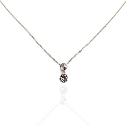 silver pink cz birthstone pendant june
