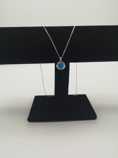 Sterling Silver Round Light Blue Created Opal Pendant