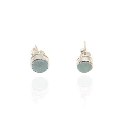 silver aquamarine stud earrings