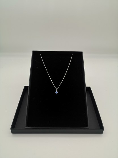 sterling silver blue cz birthstone pendant (sept)