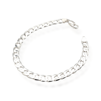 "8.5"" silver 5mm curb bracelet"