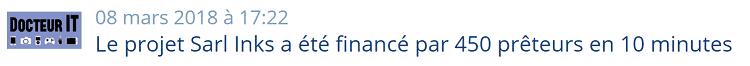 Projet Lendix - Temps de financement
