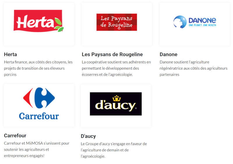 Miimosa Partenaires Co-investissement : Carrefour, Herta, Daucy, Danone, Les paysans de Rougeline