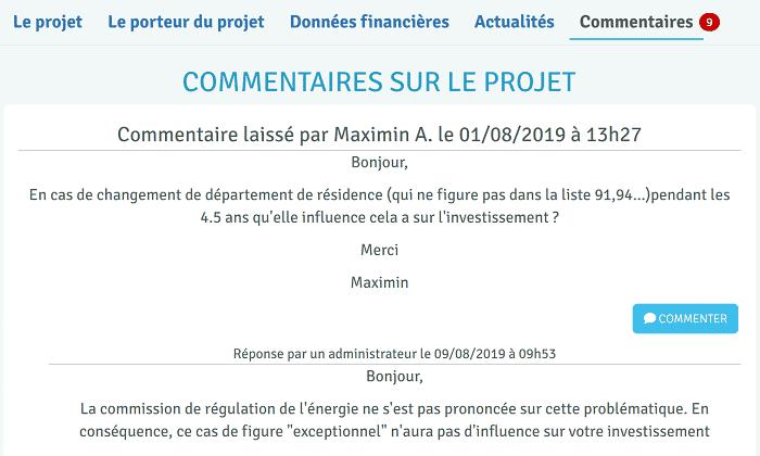 Enerfip - Commentaires sur les projets